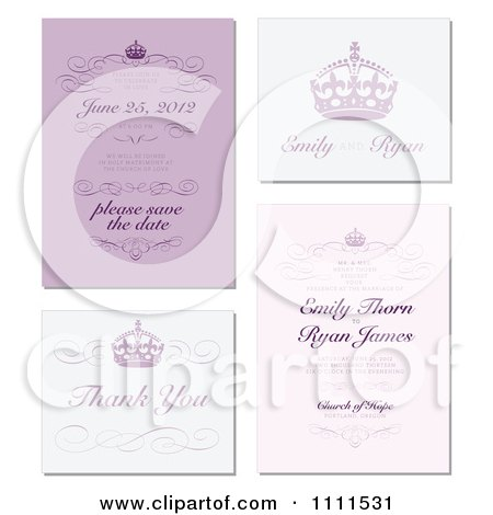 Clipart Purple And Blue Wedding Invitation Designs With Sample Text And Crowns - Royalty Free Vector Illustration by BestVector