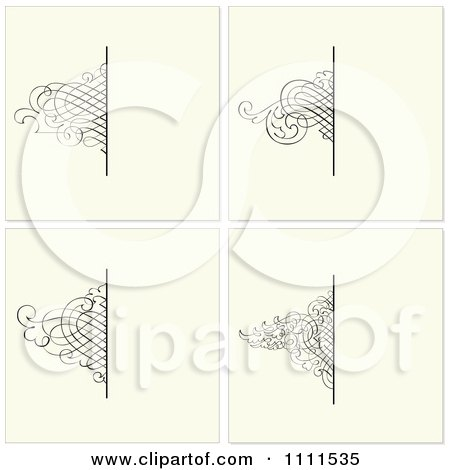 Clipart Ornate Swirl Borders And Copyspace On Beige - Royalty Free Vector Illustration by BestVector