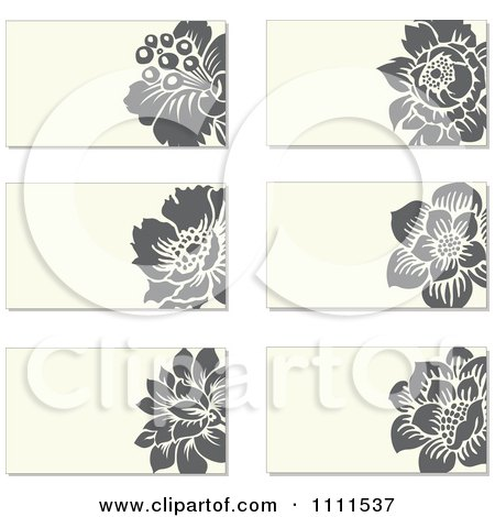 Clipart Gray Flowers And Beige Business Card Designs - Royalty Free Vector Illustration by BestVector