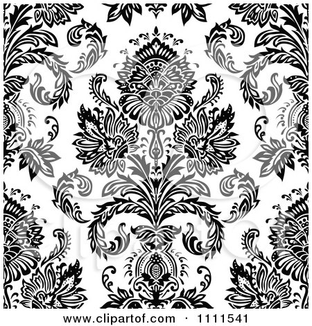 Seamless Black And White Vintage Floral Pattern 3 Posters ...
