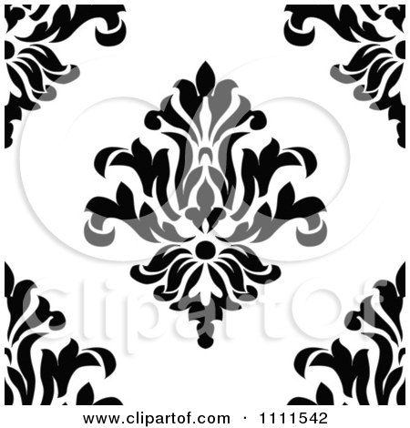 Seamless Black And White Vintage Floral Pattern 4 Posters ...