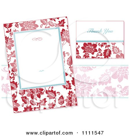 Clipart Red Floral Frame And Thank You Card On White - Royalty Free Vector Illustration by BestVector