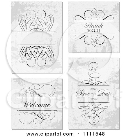 Clipart Swirl Frame And Thank You Save The Date And Welcome Text On Distressed Gray - Royalty Free Vector Illustration by BestVector