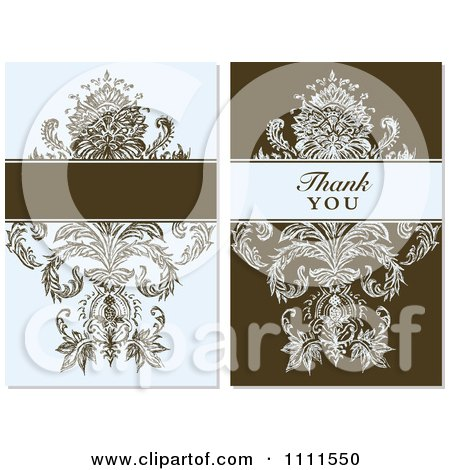 Clipart Vintage Blue And Brown Floral Designs With Blank Space And Thank You Text - Royalty Free Vector Illustration by BestVector