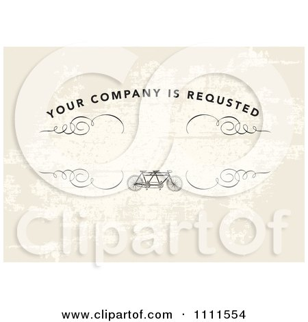Clipart Your Company Is Requested Text On An Invite With A Tandem Bike Over Grunge With Copyspace - Royalty Free Vector Illustration by BestVector