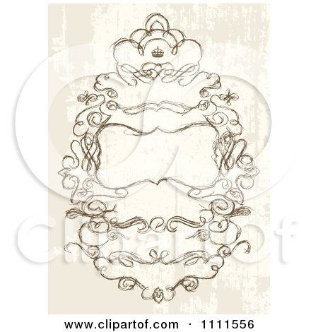 Clipart Ornate Sketched Swirl Frame On Grunge - Royalty Free Vector Illustration by BestVector