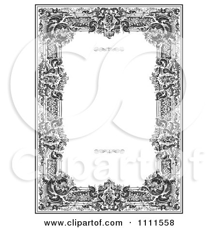 Clipart Ornate Black And White Victorian Frame With Copyspace - Royalty Free Vector Illustration by BestVector