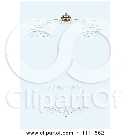 Clipart Brown Swirl Crown Borders On Pastel Blue - Royalty Free Vector Illustration by BestVector