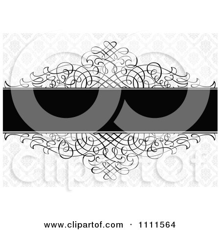 Clipart Black Ornate Swirls With A Text Bar On A Floral Pattern - Royalty Free Vector Illustration by BestVector