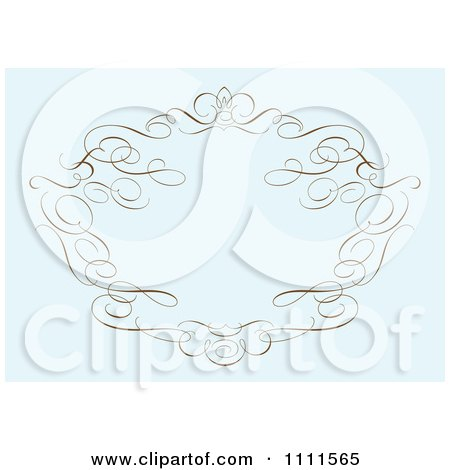 Clipart Brown Swirl Frame On Pastel Blue - Royalty Free Vector Illustration by BestVector