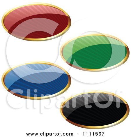 Clipart 3d Reflective Colorful Oval Labels With Rays And Gold Trim - Royalty Free Vector Illustration by dero