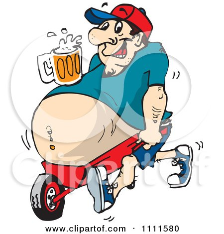 Clipart Beer Bellied Man With A Drink Resting On His Tummy Propped In A Wheel Barrow - Royalty Free Vector Illustration by Dennis Holmes Designs