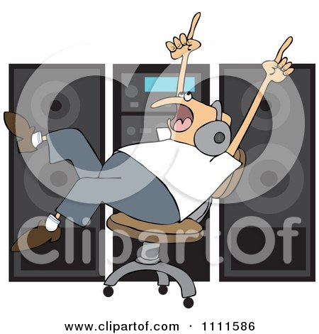 Clipart Chubby Man Rocking Out To Music Wearing Headaphones And Rolling In A Chair By A Stereo - Royalty Free Vector Illustration by djart