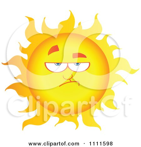 Clipart Grumpy Sun Mascot 1 - Royalty Free Vector Illustration by Hit Toon