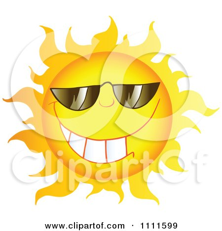 Clipart Grinning Sun Mascot With Sunglasses 1 - Royalty Free Vector Illustration by Hit Toon
