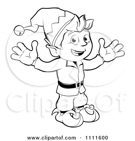 Clipart Outlined Happy Christmas Elf - Royalty Free Vector Illustration by AtStockIllustration