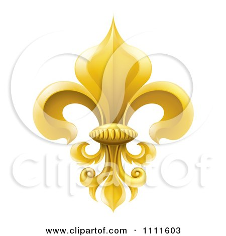 Clipart 3d Elegant Golden Fleur De Lis Lily Symbol - Royalty Free Vector Illustration by AtStockIllustration