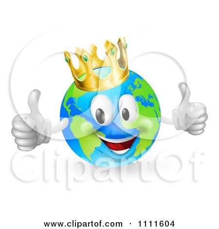 Clipart 3d Happy King Of The World Globe Holding Two Thumbs Up - Royalty Free Vector Illustration by AtStockIllustration