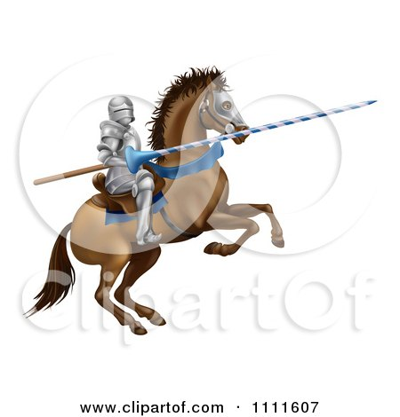 Clipart 3d Jousting Knight Holding A Lance On A Rearing Horse - Royalty Free Vector Illustration by AtStockIllustration