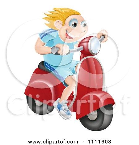 Clipart Happy Blond Man Speeding On A Moped - Royalty Free Vector Illustration by AtStockIllustration