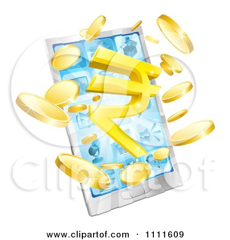 Clipart 3d Cell Phone With Coins And A Rupee Symbol Bursting From The Screen - Royalty Free Vector Illustration by AtStockIllustration