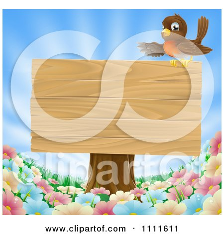 Clipart Robin Presenting On A Blank Wood Sign On A Tree Stump Over Spring Flowers - Royalty Free Vector Illustration by AtStockIllustration