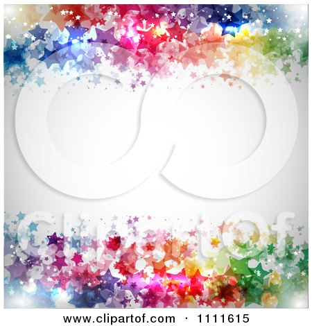 Clipart Gray Background Bordered With Colorful Stars - Royalty Free Vector Illustration by KJ Pargeter