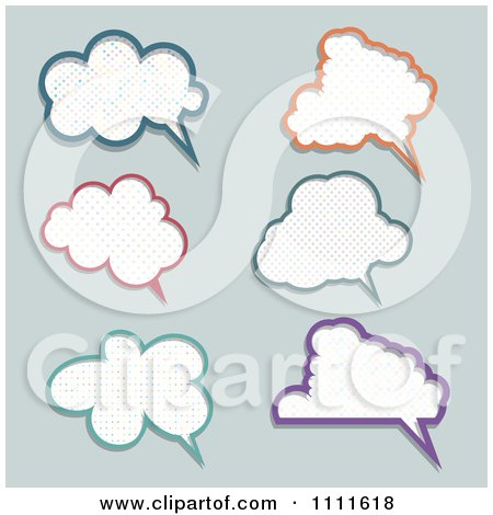 Clipart Polka Dot Speech Bubbles On Gray - Royalty Free Vector Illustration by KJ Pargeter