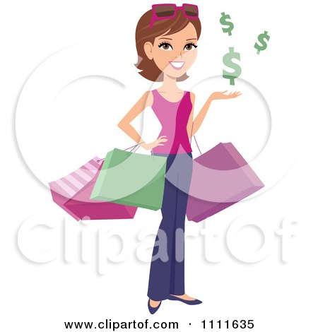 Clipart Happy White Woman Shopper With Bags And Floating Dollar Symbols - Royalty Free Vector Illustration by Monica