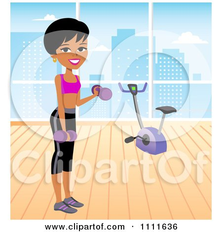 Clipart Fit Woman Lifting Dumbbells In An Urban Gym. - Royalty Free Vector Illustration by Monica