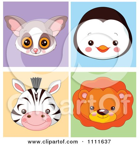 Clipart Cute Bush Baby Penguin Zebra And Lion Avatar Faces - Royalty Free Vector Illustration by Pushkin