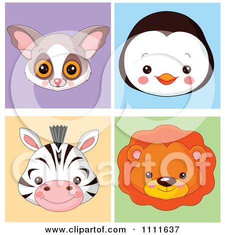 Clipart Cute Bush Baby Penguin Zebra And Lion Avatar Faces Royalty Free Vector Illustration