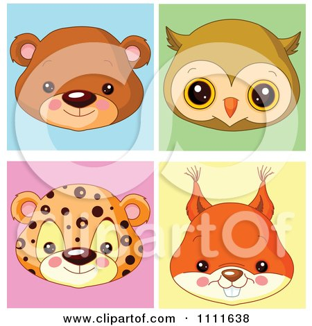 Cute Bear Owl Leopard And Squirrel Avatar Faces Posters, Art Prints