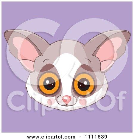 Clipart Cute Bush Baby Avatar Face On Purple - Royalty Free Vector Illustration by Pushkin