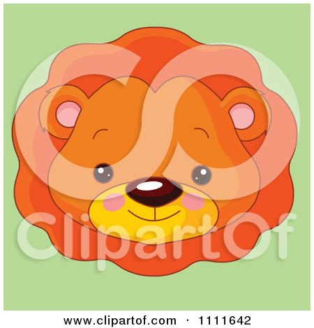 Clipart Cute Lion Avatar Face On Green - Royalty Free Vector Illustration by Pushkin