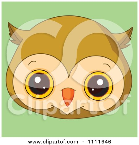 Clipart Cute Owl Avatar Face On Green - Royalty Free Vector Illustration by Pushkin