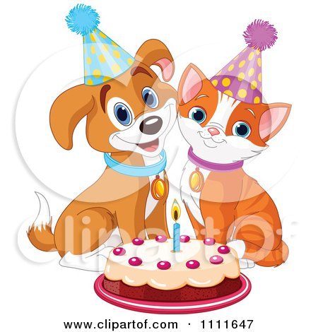Clipart Cute Puppy And Cat Wearing Party Hats And Smiling Over A Birthday Cake - Royalty Free Vector Illustration by Pushkin
