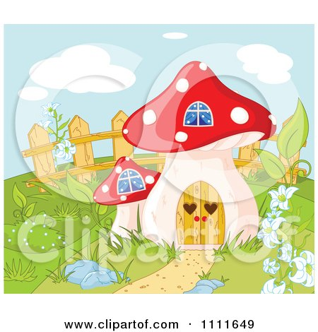Clipart Mushroom House Gnome Home In A Garden - Royalty Free Vector Illustration by Pushkin