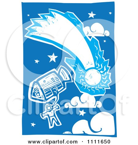 Clipart Astronaut In Space With A Comet And A Shuttle Blue And White Woodcut - Royalty Free Vector Illustration by xunantunich