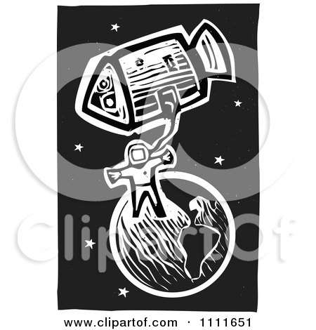 Clipart Astronaut In Space With Earth And A Shuttle Black And White Woodcut - Royalty Free Vector Illustration by xunantunich