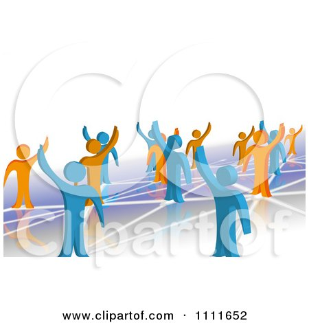 Clipart 3d Blue And Orange People Waving And Standing On Network Connections 1 - Royalty Free CGI Illustration by MacX
