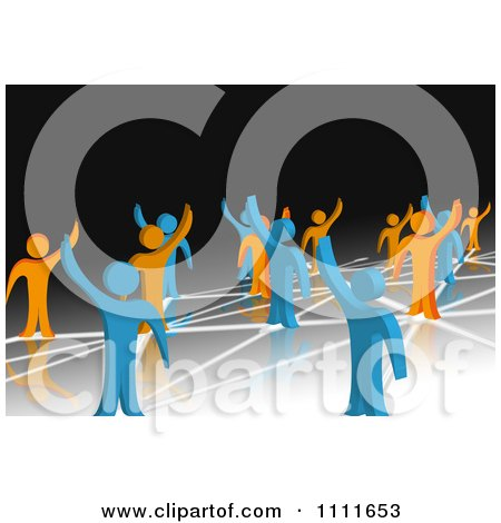 Clipart 3d Blue And Orange People Waving And Standing On Network Connections 2 - Royalty Free CGI Illustration by MacX