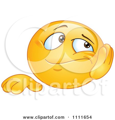 Clipart Bored Emoticon Resting His Cheek In His Hand - Royalty Free Vector Illustration by yayayoyo