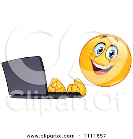 Clipart Typing Emoticon Using A Laptop Computer - Royalty Free Vector Illustration by yayayoyo
