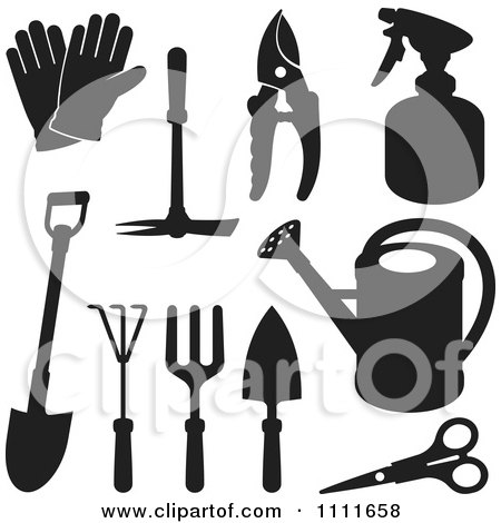 Clipart Black Silhouetted Gardening Tools - Royalty Free Vector Illustration by Any Vector