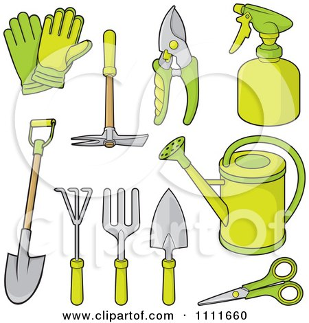 Clipart Green Gardening Tools - Royalty Free Vector Illustration by Any Vector