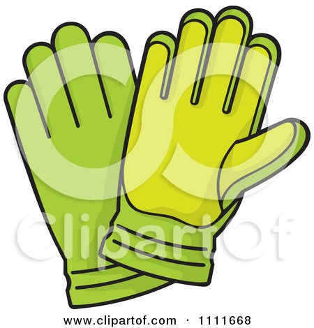 Clipart Pair Of Green Gardening Gloves - Royalty Free Vector Illustration by Any Vector