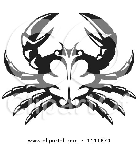 Clipart Black And White Crab - Royalty Free Vector Illustration by Any Vector