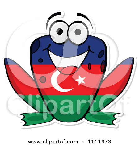 Clipart Azerbaijan Flag Frog - Royalty Free Vector Illustration by Andrei Marincas