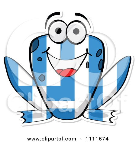Clipart Greek Flag Frog - Royalty Free Vector Illustration by Andrei Marincas